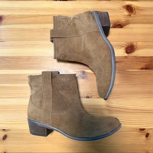 LUCKY BRAND Tan Suede Western Style Ankle Boots